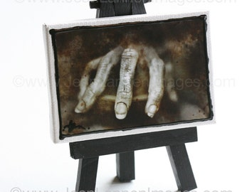 OOAK The Creepy Hand  Altered Photo on Mini-Canvas, Horror Scarey Film Sepia Look, Dark Shadows, Johnny Depp, Mannequin By Jean Lannen