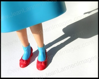 Dorothy in Blue, Oz Inspired Photograph of Vintage Dorothy Doll in Teal Aqua with Ruby Slippers in Sun Shadows by Jean Lannen