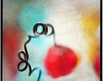 EYE CANDY-Cherry Bomb 7x7 Orig Photograph Print- Fun, Spring Coil Whimsy Beads,Teal, Turquoise Lemon Yellow Sea foam by Jean Lannen