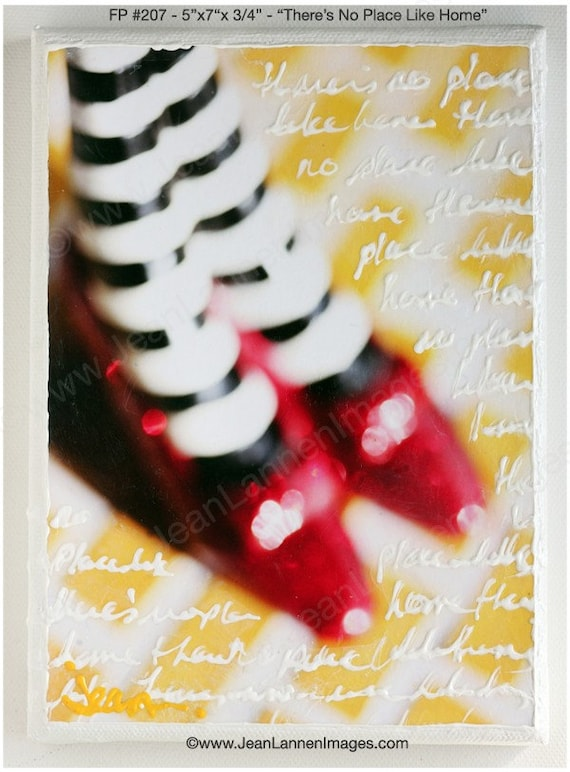 There's No Place Like Home - Original Mixed Media, Altered Photograph-Wizard of Oz Inspired 5x7- FP207, Wicked Witch, Dorothy,Black, White, Striped Stockings, Stripes,Ruby Red Slippers,Yellow Brick Road - Photography By Jean Lannen, The Other Jeanie
