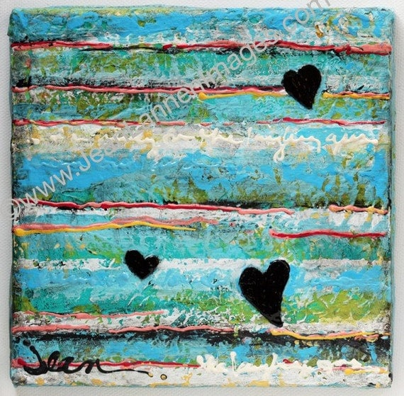 Valentines Day, Black Hearts In The Sky, U2 Inspired, Mixed Media Orig,Turquoise Aqua Paint and Handwriting Lyrics by Jean Lannen
