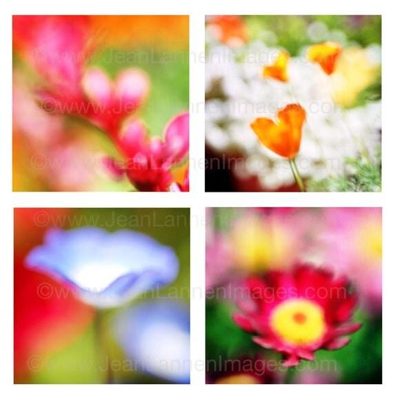 Summer Sunshine Bouquet, Photographic Fine Art Print of 4 Impressionistic Flowers, Red Pink Orange, Neon Solar Blue By Jean Lannen