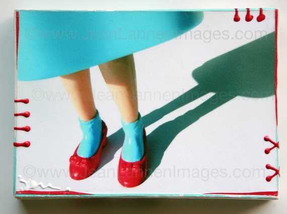 Wizard of Oz, Altered Photo, 1 of a kind, Dorothy's Red Ruby Slippers,on Canvas, Retro Doll Turquoise Aqua Dress Shiny Spots by Jean Lannen