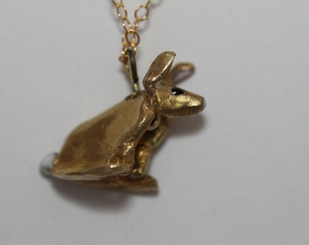 Cotton Tail Rabbit Necklace Brass