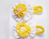 2 Sunny Yellow and White Yoyo Flower Ponytails or Pigtails