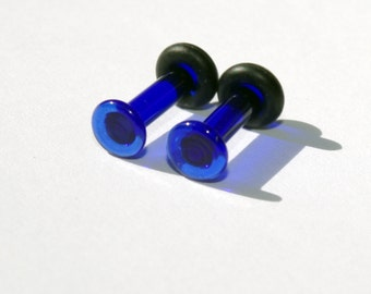 10g Cobalt Dark Blue Glass Plugs Body Jewelry 10 Gauge 2.5mm Piercing