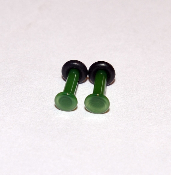 12g Jade Green Glass Plugs Body Jewelry 12 Gauge 2mm Piercing