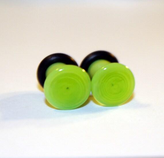 4g Bright Green glass EAR plugs BODY JEWELRY 5mm handmade new 4 gauge