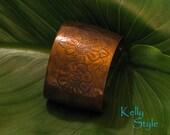 Vintage Copper Bracelet Cuff with Engraved Flower Pattern
