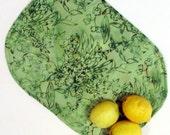 Placemats, Green, Floral, Batik Oval, Set of 4
