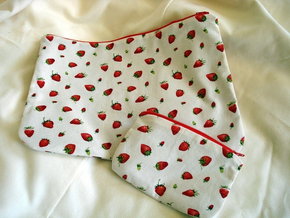 Strawberries and Cream Zippered Pouches, Red, Cream, Lined, Cosmetic Bag, Makeup Bag