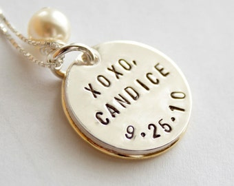 Secret Message Simply Pretty Two-Tone Pearl Pendant Necklace - Hand Stamped Sterling Silver and Gold Filled Pendant