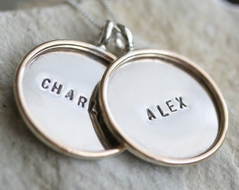 2 Large Two-Tone Personalized Sterling Silver Pendants with Gold Filled Rim x2