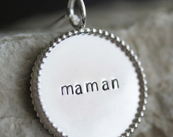 7/8 inch Sterling Silver Beaded Pendant and Necklace - Double Sided - Stamping on BOTH Sides