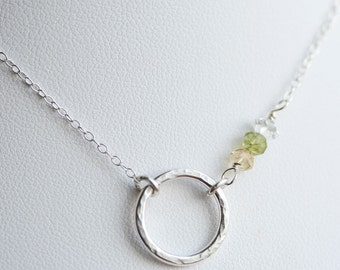 Hammered Sterling Circle with Birthstones Necklace