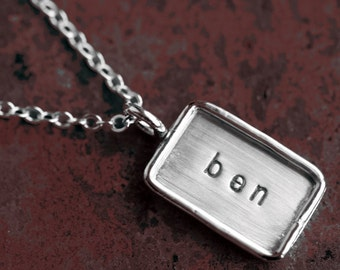 Personalized Hand Stamped Sterling Silver Rectangle Pendant with Sterling Silver Rim