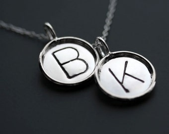 Two 5/8 Inch Sterling Silver Initial/Name Pendants with Necklace - Sterling Disc with Rim