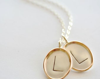 7/8 inch Two-Tone, Personalized Single-Sided Oval Pendant x2  - Sterling Silver Oval Disc with Gold Filled Rim
