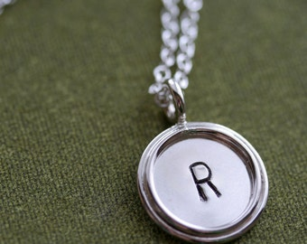 Medium Single-Sided Sterling Silver Personalized Pendant  with Double Sterling Silver Rim Necklace