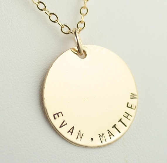 Featured in ivillage.com  -  Large 7/8 inch Hand Stamped Custom Gold Filled Pendant and Necklace