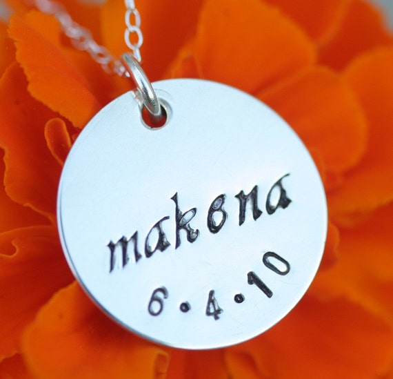 3/4 Inch Hand Stamped Custom Sterling Silver Pendant and Necklace - Reserved for Carina