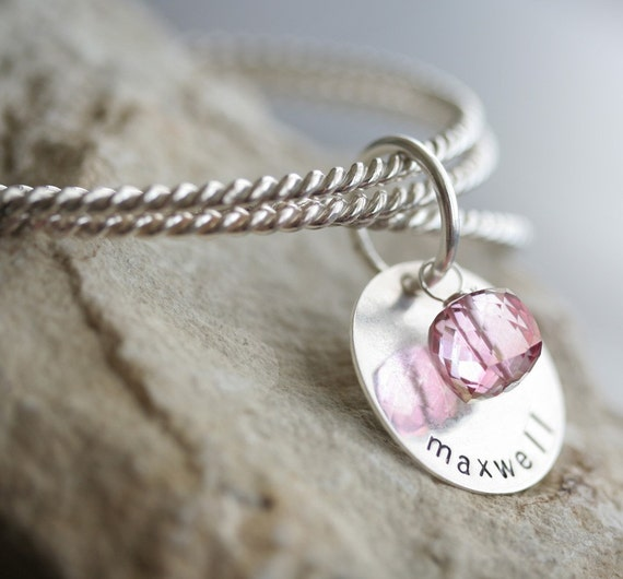 Totally Twisted Sterling Silver Charm Bangles - Featuring Personalized Charm with Birthstone