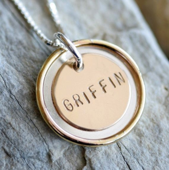 Simply Pretty Two-Tone Personalized Pendant Necklace - Stamped Silver and Gold