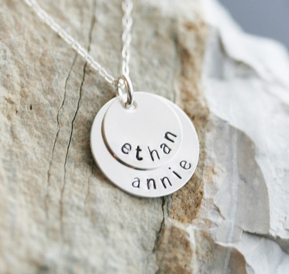 SALE - Personalized Stacking Necklace in Sterling Silver - 2 Discs
