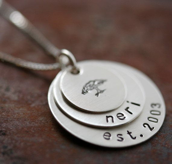 Personalized Family Tree Stacking Necklace in Sterling Silver - 3 Discs