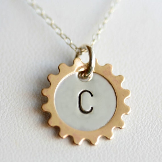 Two Tone Personalized Gear Rim Pendant and Necklace - Hand Stamped Sterling Silver and Brass