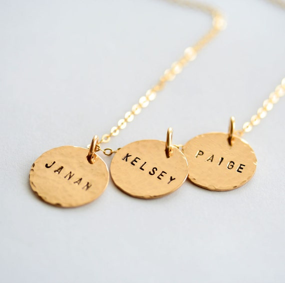 3 Personalized Hammered Gold Filled Pendants and Necklace - 5/8 Inch