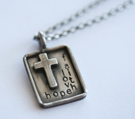 Faith Hope Love - Distressed Sterling Silver Necklace with Raised Cross