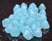 Powder Blue Opal Czech Glass 4x6mm Baby Bell Flower - 25