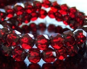 Ruby Picasso Czech Glass Bead 6mm Renaissance : 25 pc Strand