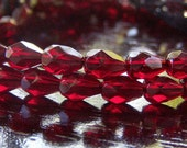 Garnet Czech Glass Bead 7x5mm Tear Drop : 20 pc
