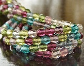 Czech Glass Bead 4mm Tourmaline Faceted Round - LAST 50 pc