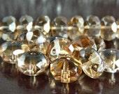 Crystal Celsian Czech Glass Bead 11x7mm Gemstone Cut Donut : 12 pc