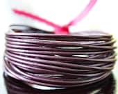 1.5mm Round Leather Cord Metallic Berry : 15 Feet