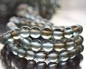 Czech Aqua Celsian 6mm Glass Bead Round Druk - LAST 50 pc