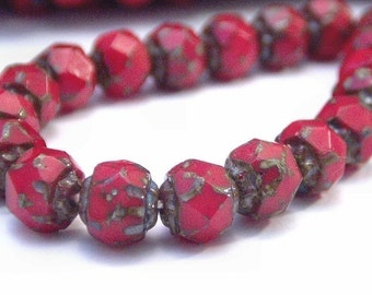 Opaque Red Czech Glass Bead 6mm Picasso Renaissance : 25 pc