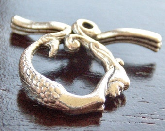 Antique Silver Pewter Mermaid Toggle Clasp : 2 Sets