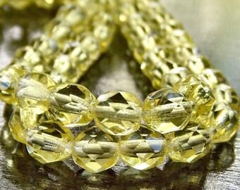 Jonquil Yellow Czech Glass 6mm Firepolish  : 25 pc