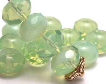 Light Mint Opal Czech Glass 9x6mm Puffy Faceted Rondelle - 12