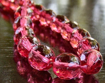 Cranberry 10mm Czech Glass Faceted FP Round Bead : 10 pc Pink 10mm Rounds