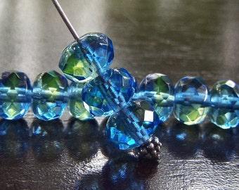 Sapphire Blue and Green 9x6mm Czech Glass Bead Gemstone Cut Donut :  12 pc Blue Green Rondelle