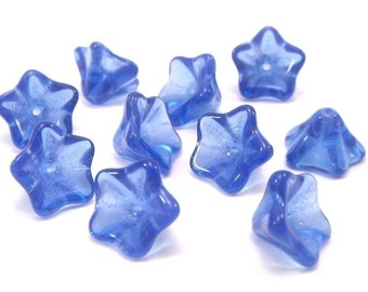 Czech Glass Bead 8x13mm Sapphire Trumpet Flower : 10 Blue Czech Glass Flower Beads
