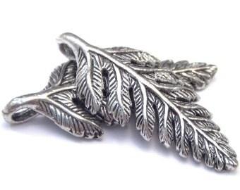 Pewter Fern Leaf Charm 23.5x10mm : 2 pc Silver Leaf Charm