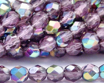 Amethyst Vitral Czech Glass Bead 4mm Faceted Round : 50 pc 4mm Amethyst Bead