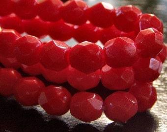 Deep Coral Czech Glass Bead 6mm Firepolish  Round Strand