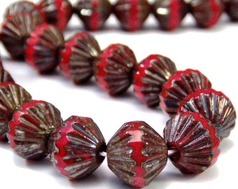 Opaque Red Czech Picasso 9mm Fluted Glass Bead : 12 pc Red Fluted Bead